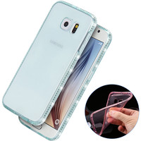 S6&S6 edge Transparent Rhinestone Diamond Ultrathin Case For Samsung Galaxy S6 G9200/S6 Edge G925 Clear Soft Silicone Cover Capa