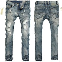 Men's Fashion Ripped Holes Slim Men Jeans [6528533507]