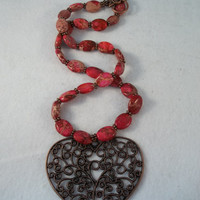 Ruby Impression Jasper & Copper Heart Necklace