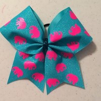 BbA Preppy Patterns Elephants Lt. Blue Glitter Cheer Bow - Bows by April Express