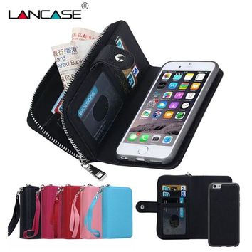 Zipper Wallet Leather Phone Case For iPhone 5S 6 6S plus iPhone 7