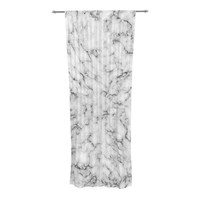 "Will Wild ""Marble"" White Gray Decorative Sheer Curtain"