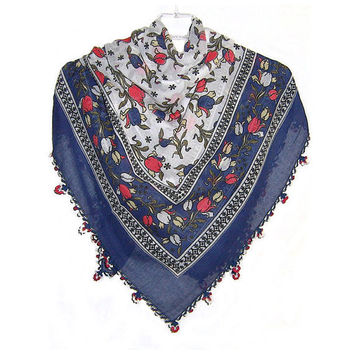 Traditional Turkish Yemeni Cotton Scarf With Crocheted Lace, Navy Blue / Red / White Tulip Pattern