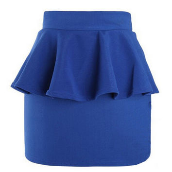 Hot Women Girl High Waist Peplum Frill Pencil Skirt Stretch Body-con Mini Skirts Womens PY5