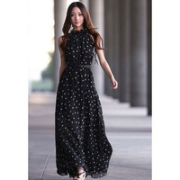 Black Polka Dot Sleeveless Maxi Dress