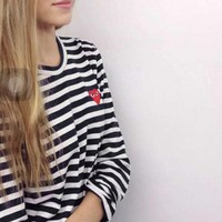 Play Casual Fashion Long Sleeve Pullover Stripe Round Neck Sweater-1