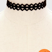 Black Velvet Diamond Cut Out Choker Necklace