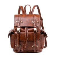 Retro Brown Three Pockets Two Belts School Bag Travel England Style Backpack