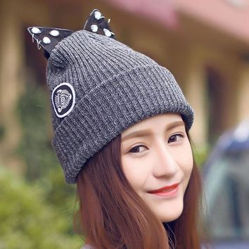 LMFU3C Women Warm Winter Beret Lace Rhinestone Cat Ear Crochet Knit Beanie Ski Cap Hat  -Y107