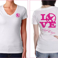 Hunger Games Insipred Pink and White Womans Style T-Shirt  Unofficial