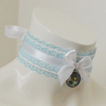 Kitten play day collar - Universe and sky - ddlg princess fairy kei kawaii cute neko pet girl - baby blue and white