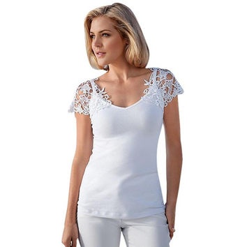 Style Women V-Neck Short Sleeve White Lace Splice Sexy Hollow Out Tops Ladies T-Shirt Female camisetas mujer #23 BL