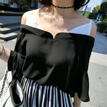 Camisole Summer Korean Strapless Tops Leaf Scarf [10356678221]
