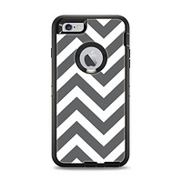 The Sharp Gray & White Chevron Pattern Apple iPhone 6 Plus Otterbox Defender Case Skin Set