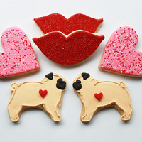 Pugs & Kisses Valentine Gift Box - 6 Cookies - MADE TO ORDER