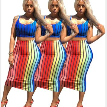 Sexy rainbow vertical stripe close-fitting doublet two-piece dress