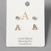'A' Initial & Crystal Stud Set
