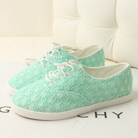 pgfancy- fashion online shopping mall — [grxjy5190015]Lace green shoes