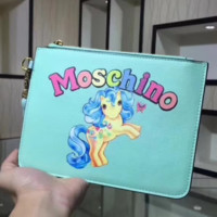 Moschino Fashion new colorful letter unicorn print hand bag wallet Green