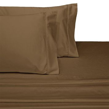 Twin TAUPE 300 Thread count Solid 100-Percent Combed cotton