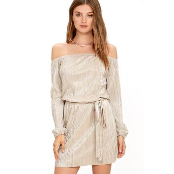 Off Shoulder Pure Color Short Sleeves Sexy Dress
