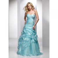 Light Blue A-line Strapless Floor-length Satin with Ruffles and Beading Prom Dress [TWL120203031] - $131.99 : wedding fashion, wedding dress, bridal dresses, wedding shoes