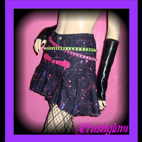 TRASHGLAM COUTURE kawaii 80s neon candy paint SPLATTER pleated denim skirt