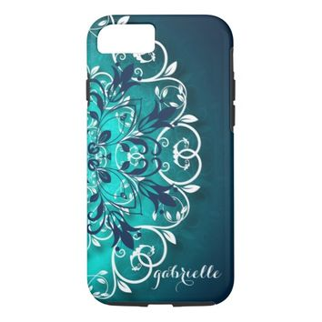 Teal, Blue And White Floral Swirls Mandala iPhone 7 Case