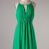 Chiffon Dress with Flower Band - Green