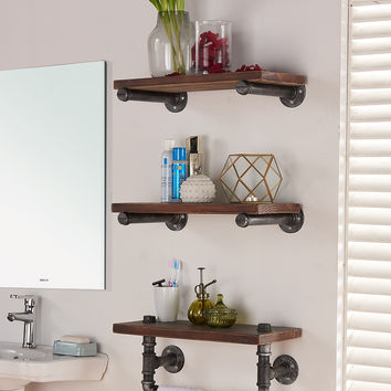 "Armen Living 20"" Conrad Industrial Walnut Wood Floating Wall Shelf in Silver Finish"
