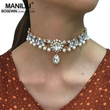 MANILAI Brand Charm Torque Acrylic Imitation pearl Chokers Necklaces Women Chunky Collar Statement Jewelry Boho Bib Necklaces