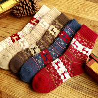 christmas deer winter warm socks