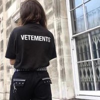 """Vetements"" Unisex Loose Casual Classic Letter Print Couple Short Sleeve T-shirt Top Tee"