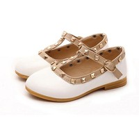 Hot Children Princess Flat Shoes Children Girls Rivets Single Shoes Kids Leather Shoes Girls Shoes