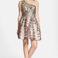 Junior Women's Hailey Logan Sequin Bodice One-Shoulder Party Dress