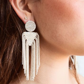 Shari Bead Drop Earrings - White