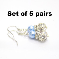 Set of 5 pearl earrings Blue