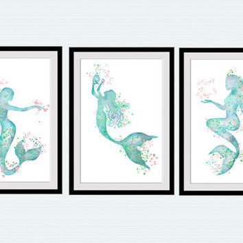 Mermaid Art Poster Set Of 3 Prints Mermaid Watercolor Home Decoration Set  Of 3 Mermaids Wall