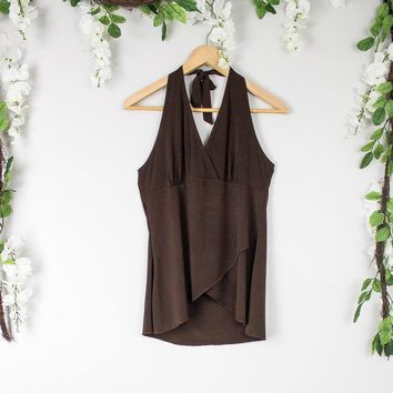 Vintage 70s Brown Festival Halter Top