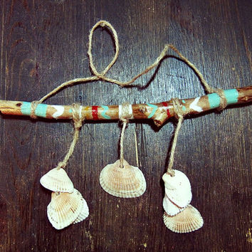 Aztec Driftwood Mobile with seashells  - Bohemian Wall Hanging  -  Boho Tribal Decor - Hippie Home Decor - Nursery Wooden Mobile