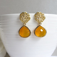 Gold Rose with Honey Teardrop Ear Post Earrings. Modern Everyday Wear. Bridal Wedding Jewelry, Bridal Bridesmaid Gift