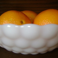 Vintage Anchor Hocking Bubble Milk Glass Serving Bowl