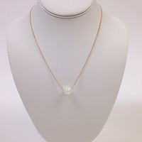 Pearl bead gold chain necklace / Pearl gold minimalist necklace / Pearl gold dainty necklace / Pearl gold necklace