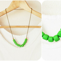 K l a y Handmade beads Necklace Chartreuse Green by xoxiishop