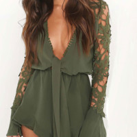 Lace Sleeve Bow Romper - Olive