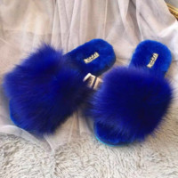 UGG Sheep fur one word drag the new autumn/winter slippers plush Blue