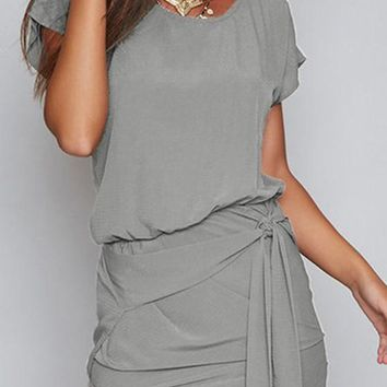Streetstyle  Casual Grey Irregular Round Neck Short Sleeve Mini Dress