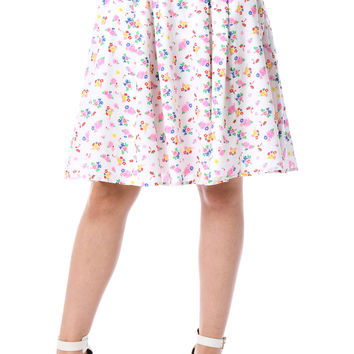 Floral bunny print cotton full skirt