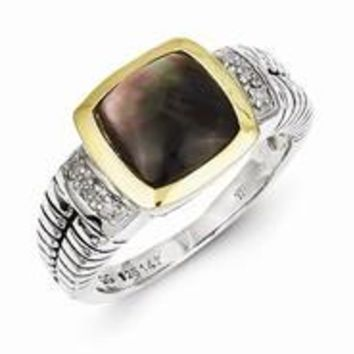 Sterling Silver w/14k Yellow Gold Black Mother of Pearl & Diamond Ring