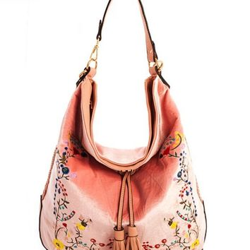 Blush Velvet Hobo Handbag